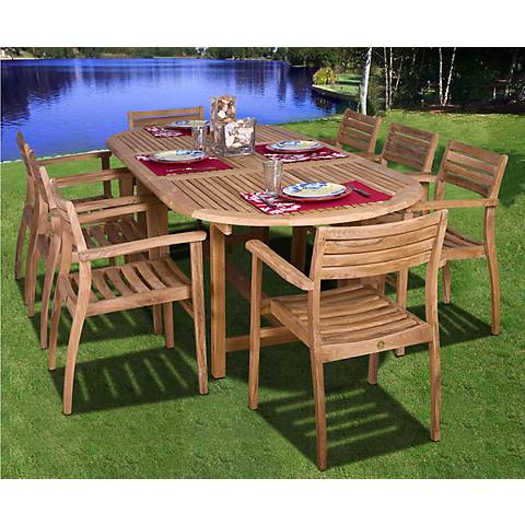 Renaldo 9-Piece Teak Wood Outdoor Table and Chairs Set