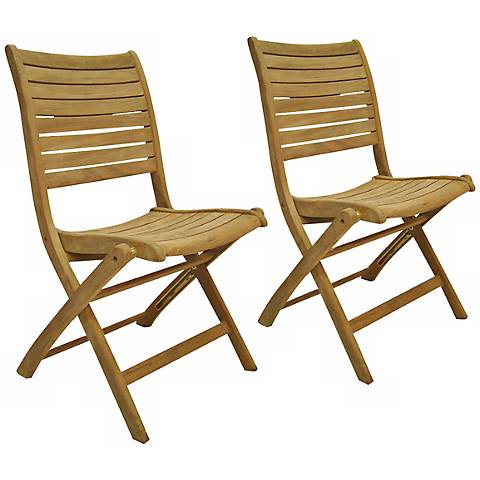 Teak Alameda Outdoor Folding Chairs Set of 2