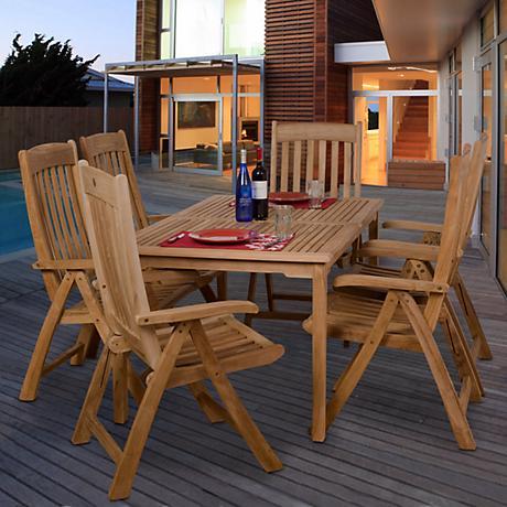 Zurich Collection 7-Piece Teak Wood Outdoor Dining Set