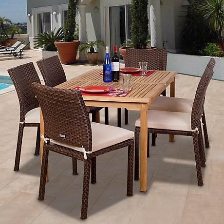 Luxemburg Collection Teak and Wicker Dining Set
