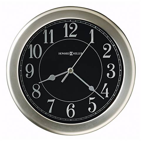 "Howard Miller Libra 8 1/2"" Black Dial Nickel Wall Clock"