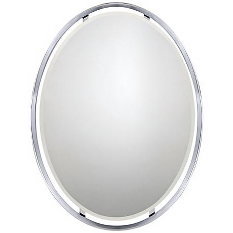 """Quoizel Uptown Ritz 34"""" High Oval Wall Mirror"""