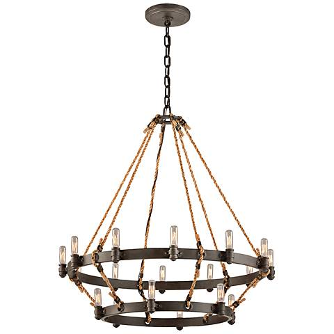 """Pike Place 33 1/2"""" 2-Tier Rope and Iron Chandelier"""