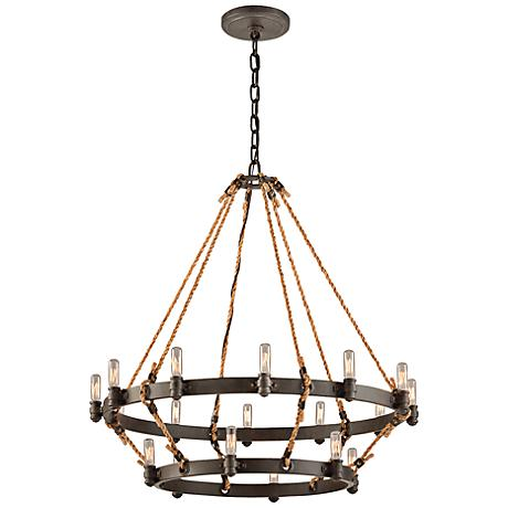 "Pike Place 33 1/2"" 2-Tier Rope and Iron Chandelier"