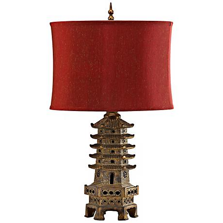 Antique Gold Finish Pagoda Table Lamp