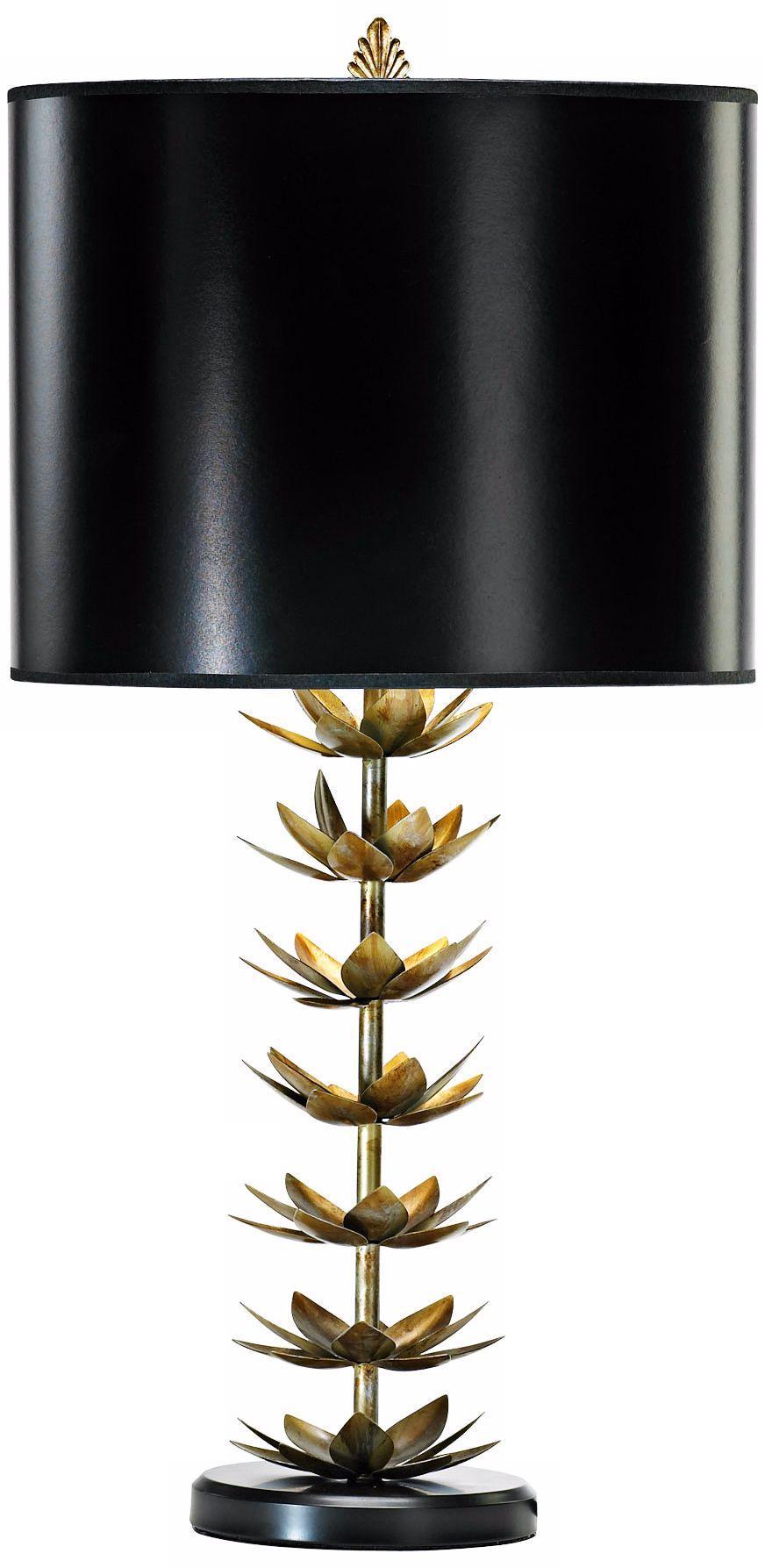 Amazing Iron And Wood Lotus Leaf Table Lamp