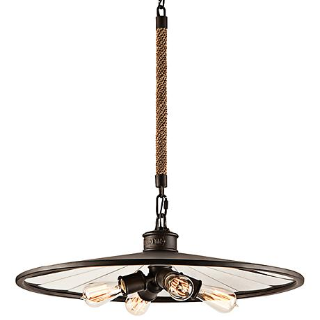 """Brooklyn 26"""" Wide Iron Pendant  Chandelier with Rope Stem"""