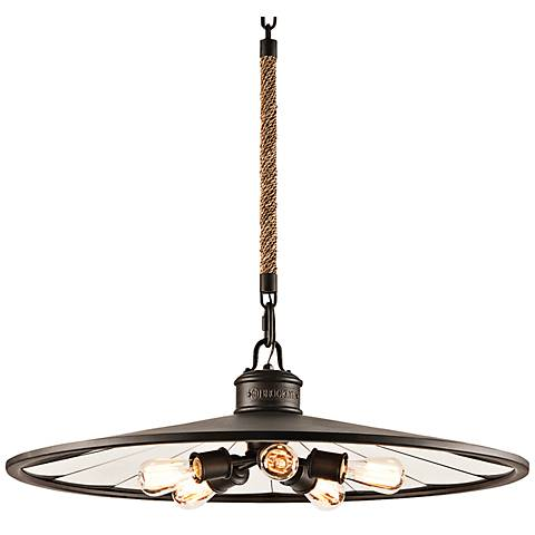 """Brooklyn 32"""" Wide Iron Pendant  Chandelier with Rope Stem"""