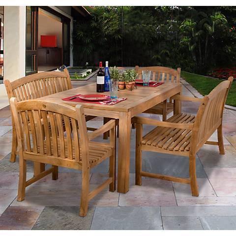 5-Piece Teak Cypress Outdoor Dining Set