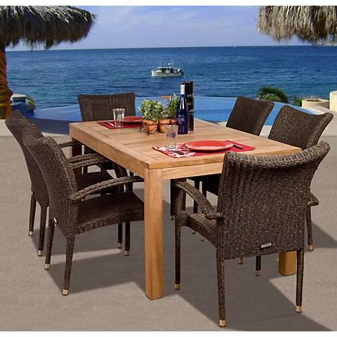 7-Piece Teak/Wicker Kelton Outdoor Dining Set