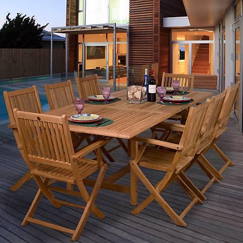 9-Piece Teak Ariane Outdoor Dining Set