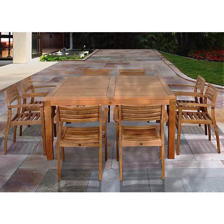 Amazonia 9-Piece Teak Victoria Outdoor Square Dining Set