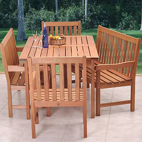 Forli Eucalyptus 5-Piece Outdoor Bench Dining Set