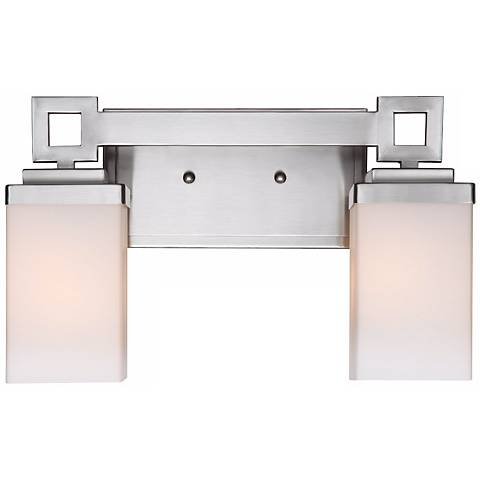 "Nelio 12 1/2"" Wide 2-Light Pewter Opal Glass Bath Light"