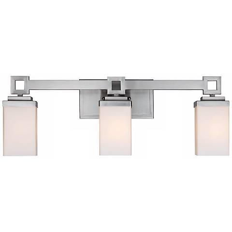 "Nelio 23 1/4"" Wide 3-Light Pewter Opal Glass Bath Light"