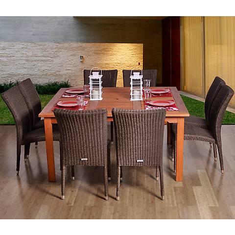 Renard Wicker Square 9-Piece Patio Dining Set