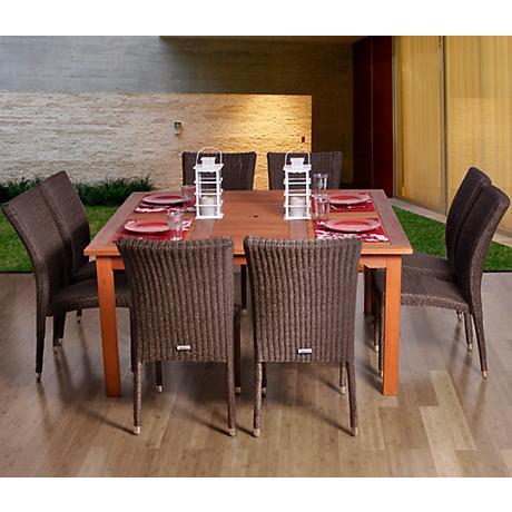 Amazonia Provence Wicker Square 9-Piece Patio Dining Set