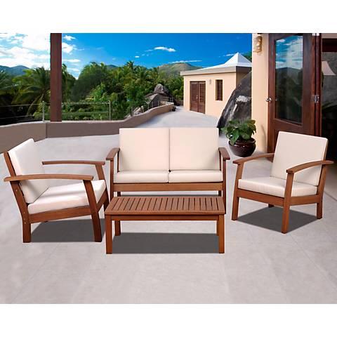Del Paso Outdoor Off-White 4-PieceConversation Set