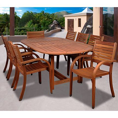 Amazonia 9-Piece Arizona Eucalyptus Oval Dining Set