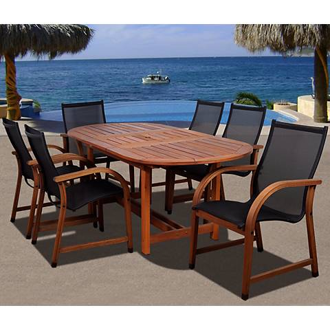 Arriba Eucalyptus Oval 7-Piece Patio Dining Set