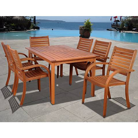 Cerrissa 7-Piece Wood Rectangular Outdoor Dining Set