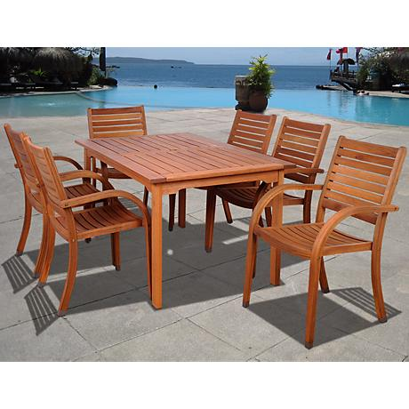 amazonia arizona 7 piece wood rectangular outdoor dining set x6271 lamps plus. Black Bedroom Furniture Sets. Home Design Ideas