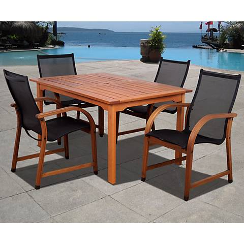 5-Piece Arriba Eucalyptus Rectangular Dining Set