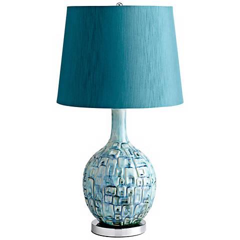 jordan ceramic teal table lamp x6331 lamps plus. Black Bedroom Furniture Sets. Home Design Ideas
