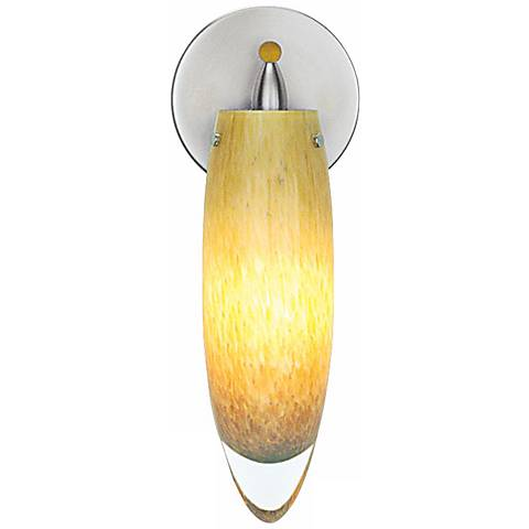 "LBL Icicle Nickel Amber Glass 11 1/2"" High Wall Sconce"