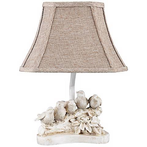 "Bird Chorus 12"" High Antique White Accent Lamp"
