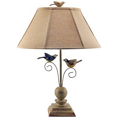 """Fly Away Together 23"""" High Bird Table Lamp"""