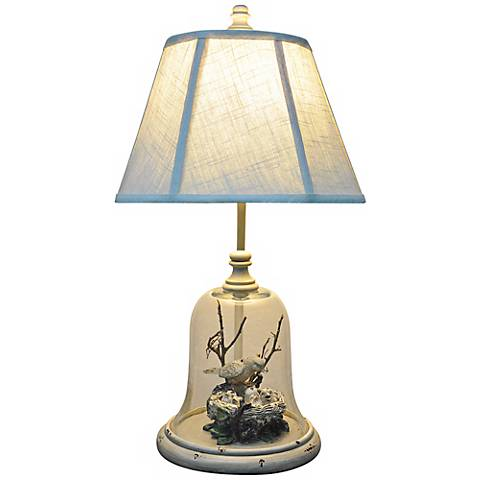 """Bird in Cloche 24"""" High Table Lamp with LED Bulb"""