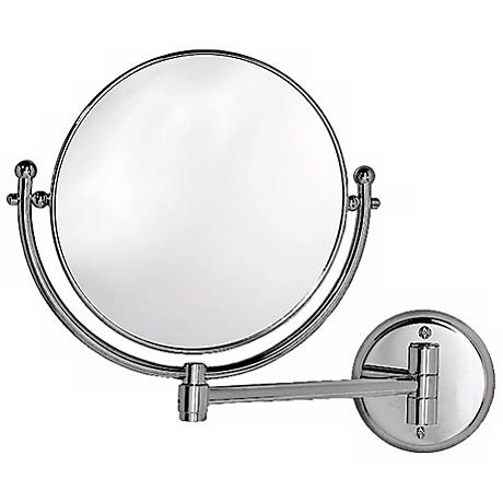 "Gatco 14 1/4"" Wide Chrome Swing Arm Wall Mirror"