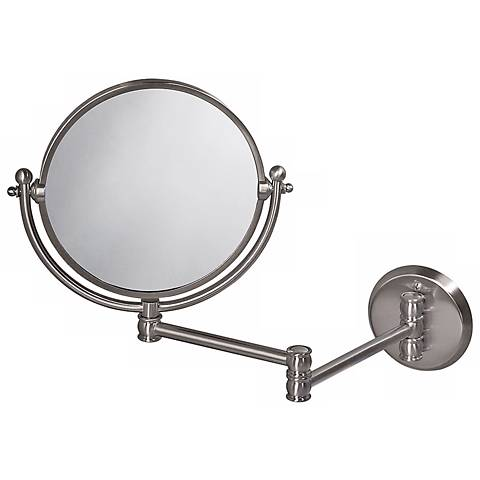"Gatco 19 1/2"" Wide Nickel Swing Arm Wall Mirror"
