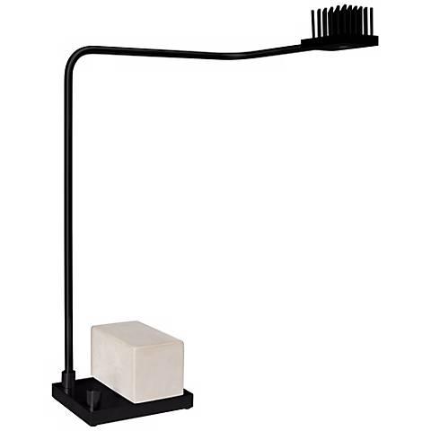 Cerno Onus Black Aluminum and Natural Concrete LED Desk Lamp
