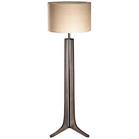 Cerno Forma Oiled Walnut LED Floor Lamp with Burlap Shade