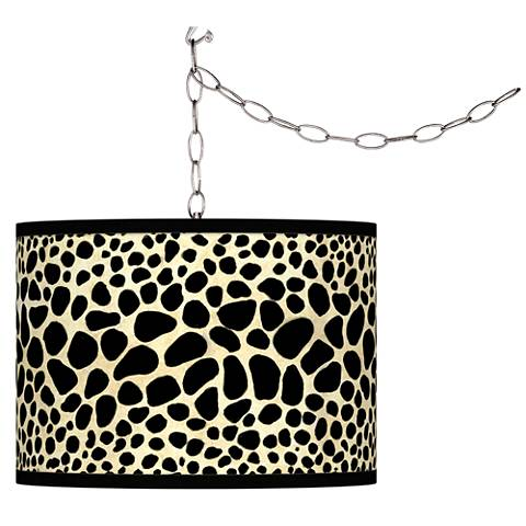 Leopard Giclee Glow Plug-In Swag Pendant