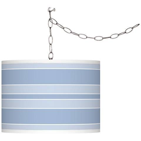 Blue Sky Bold Stripe Giclee Glow Plug-In Swag Pendant