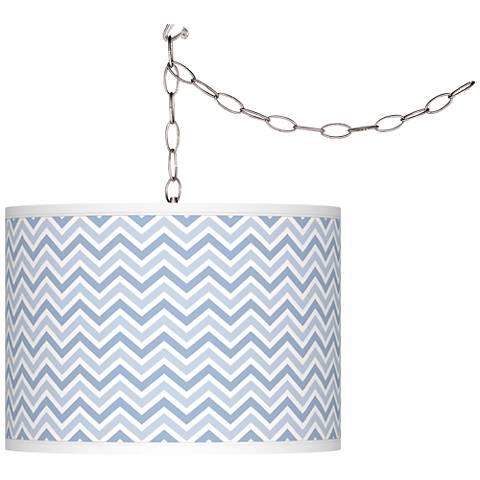 Blue Sky Narrow Zig Zag Giclee Glow Plug-In Swag Pendant
