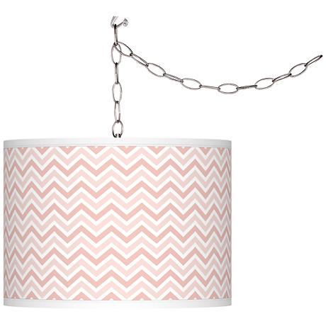 Rose Pink Narrow Zig Zag Giclee Glow Plug-In Swag Pendant