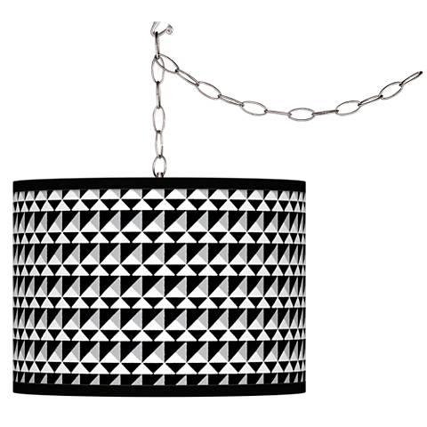 Triangle Illusion Giclee Glow Plug-In Swag Pendant