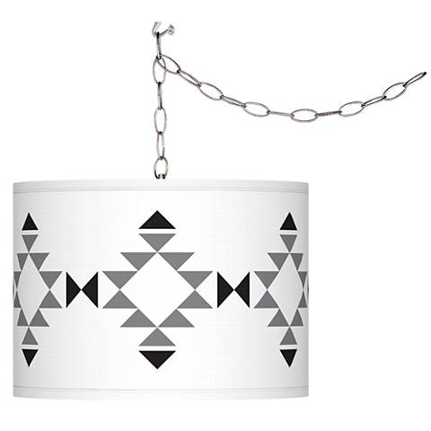 Desert Grayscale Giclee Glow Plug-In Swag Pendant