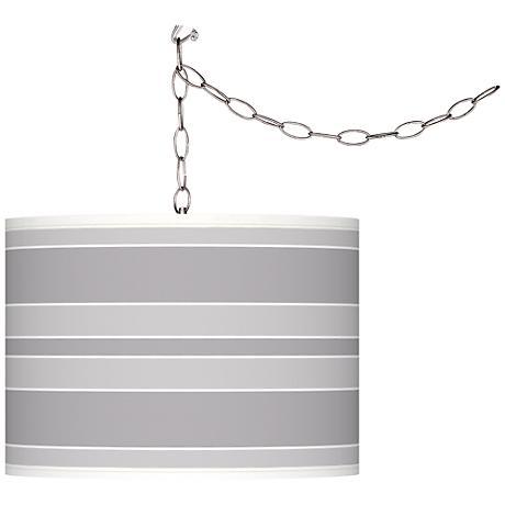 Swanky Gray Bold Stripe Giclee Glow Plug-In Swag Pendant