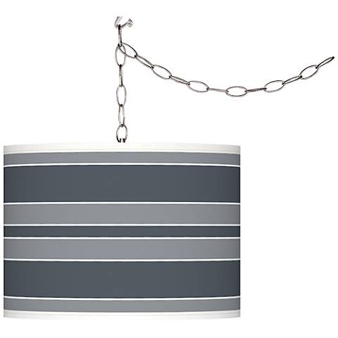 Outer Space Bold Stripe Giclee Glow Plug-In Swag Pendant