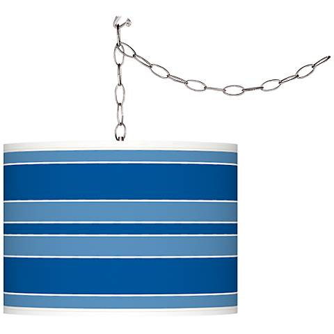 Hyper Blue Bold Stripe Giclee Glow Plug-In Swag Pendant