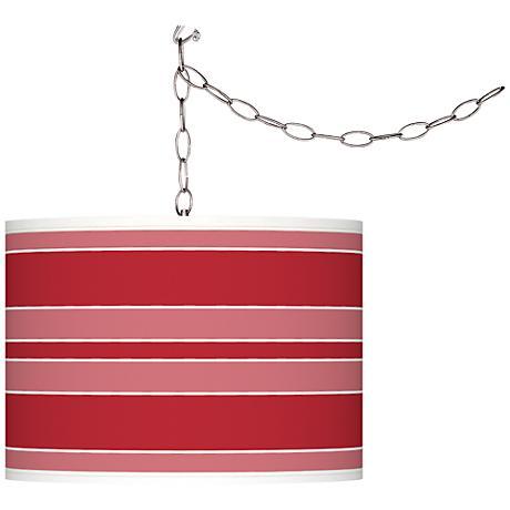 Ribbon Red Bold Stripe Giclee Glow Plug-In Swag Pendant