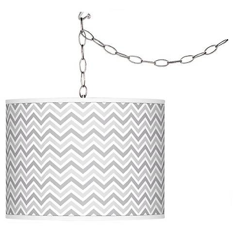 Swanky Gray Narrow Zig Zag Plug-In Swag Pendant