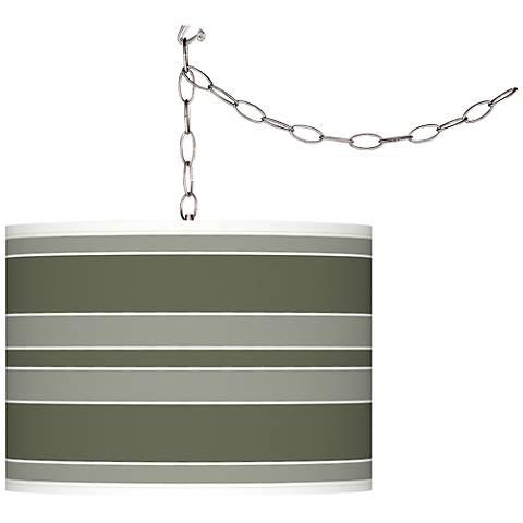 Deep Lichen Green Bold Stripe Giclee Glow Swag Pendant