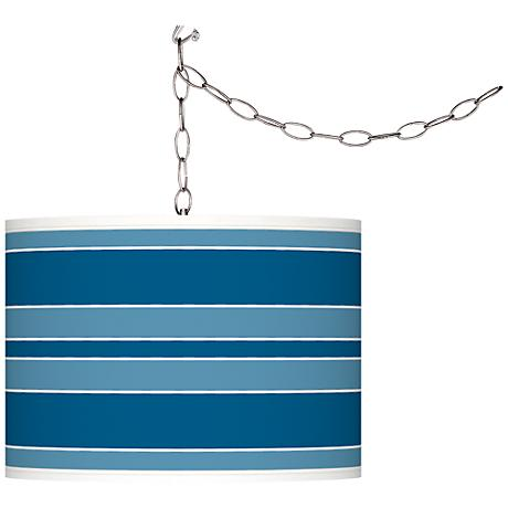 Mykonos Blue Bold Stripe Giclee Glow Plug-In Swag Pendant