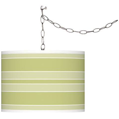 Linden Green Bold Stripe Giclee Glow Plug-In Swag Pendant